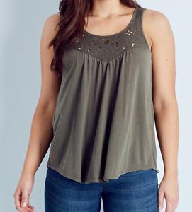 Khaki 14 18 22 Crochet Scoop Neck Tank T Shirt Tee Soft Polyester Mix Farbic