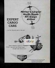 "RIDDLE AIRLINES OF MIAMI TNT SERVICE ""TODAY NOT TOMORROW"" EXPERT CARGO CARE AD"