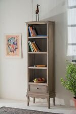Bourdeilles Slim Bookcase Display Cabinet Solid Shabby Chic in Mango Del