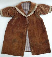 Victorian c1880s Velvet Infant Swing Coat Chocolate Brown Lined Teddy Bear Doll