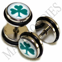 0156 Fake Cheaters Faux Illusion Ear Plugs 16G Cloverleaf Clover Leaf 0G 8mm 2pc