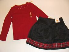 Gymboree Merry Occasion Girls Size 5 Christmas Black Skirt Top Red NWT