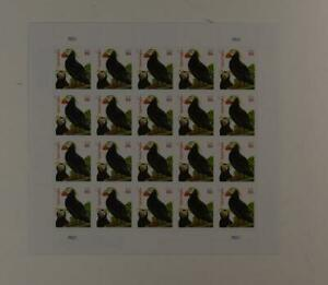 US SCOTT 4737a PANE OF 20 TUFTED PUFFINS STAMPS 86 CENT FACE MNH BLACK DATE