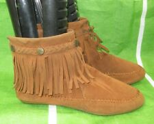 new ladies Tan Frill Flat Round Toe  Sexy Ankle Boots Size 7
