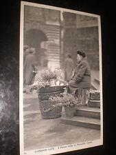 Old postcard Flower Seller Piccadilly Circus Charles Skilton London Life c1950