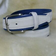 Vera Pelle Fatta A Mano Handmade In Italy White Suede Leather Nylon Men's Belt