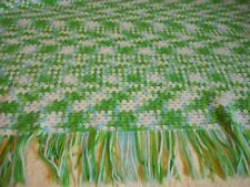 "Afghan Vintage Hand Crochet Blanket Throw Fringed 1980's Green & Blue 60""X 52"""