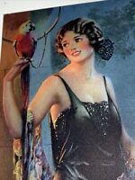 1930 Pin Up  Calendar Art W Parrot Pressler  Moonlight Beauty Original !