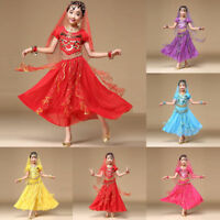 Kids Girl Indian Dance Dresses Belly Dance Halloween Costume Outfits Clothes Set