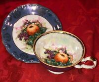 Royal Halsey IRIDESCENT LAVENDER & FRUIT Tea Cup Saucer Footed VERY FINE CHINA