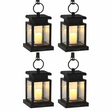 4Pcs Outdoor Hanging Candle Light Solar Powered Led Garden Carriage Lantern Lamp