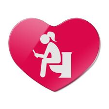 Girl Poop Pooping Sitting on Toilet Heart Acrylic Fridge Refrigerator Magnet
