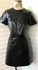 Michael Kors 2 NWT $225 Black Faux Leather dress 60's Inspired pockets lined S/S