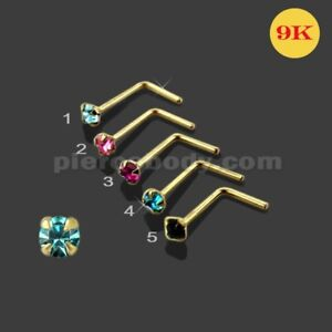 22G 9K Solid Gold Genuine Round Crystal Jeweled 4 Claw set L-Shaped Nose Stud