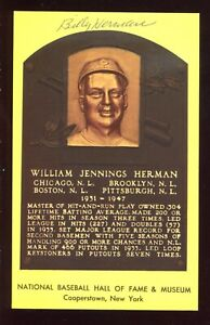SIGNED Auto HOF Plaque Yellow Postcard BILLY HERMAN Chicago Cubs C27