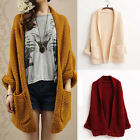 Women Oversized Knitted Sweater Batwing Sleeve Loose Long Tops Cardigan Knitwear