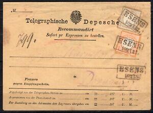 Dt. Reich 1872, Nr. 18, 22, Brustschild auf telegraphischer Depesche aus Esens