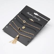 5 Pcs/Set Leaf Tassel Geometric Round Bracelet Anklet Gold Chain Jewelry Us #K