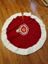 """New With Tags 1995 Barbie Tree Skirt For Jcpenney Red 48"""" Mattel In Original Box"""