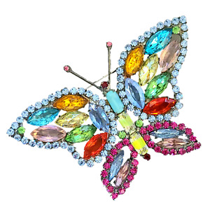Large Vintage Multicolor Rhinestone Butterfly Brooch