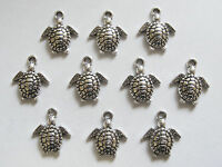 10 Turtle Charms, Tortoise Charms, Sealife Charms - 16mm - Antique Silver
