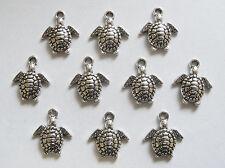 10 Metal Antique Silver Colour Turtle Charms/Pendants - 16mm