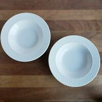 Oneida Wicker White basketweave stoneware wide rim soup salad bowls lot of 2