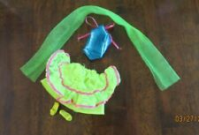 1987 Barbie Sensations Fashions Neon Blue Top & Yellow Skirt Shoes #4988 Clean