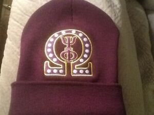 Omega Psi Phi Purple (Gold/Purple)  EMBROIDERED BEANIE/SCULL CAP