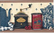 MORNING COFFEE POTS BEANS TEA TONGS AND SUGAR CUBS GRINDER Wallpaper bordeR Wall