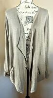 PureJill J Jill Open Drape Cardigan Beige Tan Cotton Linen Womens Size Large