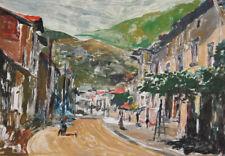 Vintage Impressionist print landscape mountain village signed