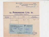 Parkinsons Limited Curzon Street Burnley 1955 Paid Receipt Ref 35288