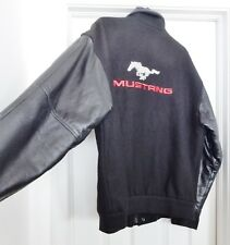 Vtg MUSTANG Wool Leather Jacket Coat Varsity Quilted Lined Black Canada Men's M