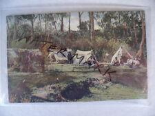 ANTIQUE VINTAGE OLD USED POSTED POSTCARD ABORIGINAL CAMP SOUTH AUSTRALIA STAMP