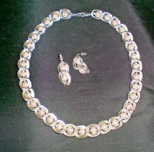 Vintage CAGED PEARLS Necklace & Dangle Earrings Set Silver Tone Exc.