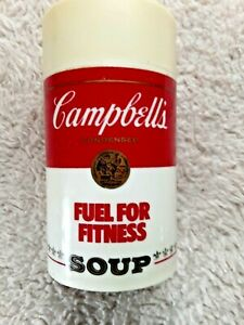 """VTG PLASTIC CAMPBELL'S """"FUEL FOR FITNESS/SOUP IS GOOD FOOD"""" THERMOS, BEIGE TOP"""