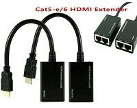 HDMI Over RJ45 CAT5e CAT6 LAN Ethernet Balun Repeater Extender Up to 100ft 1080p