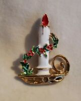 Vintage traditional CHRISTMAS Candle Brooch