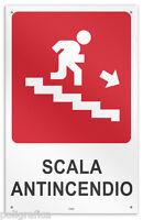 """Cartello vinile 4 fori """"Scala antincendio freccia basso destra"""""""
