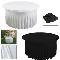 5ft Spandex Table Cloth Round Ruffled Stretch Style Cover Banquet Party Decor