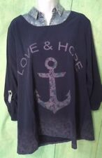 Castabile Womens Top Size XXL Navy Blue Anchor Love And Hope Shirt