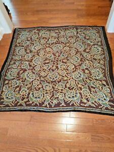 "Vintage Large Square Scarf Shawl 44 x 45"" Black & Gold Florals Cotton Blend"