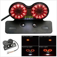 Motorcycle LED License Plate Brake Tail Light Turn Signals For Bobber Cafe ATV