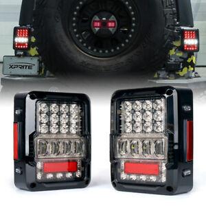 Xprite Rear Brake LED Tail Lights Clear Lens for 2007-2018 Jeep Wrangler JK JKU