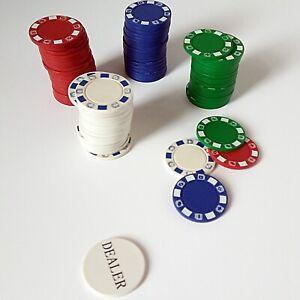 Approx 78 x Poker Chips - 4 x Colours - Full Width 8g plus Dealer Button