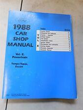 Nos 1988 Ford Escort Tempo Mercury Topaz Powertrain Engine Shop Service Manual