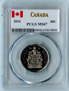 2016 CANADA PCGS MS67 COAT OF ARMS 50 CENTS 50C! BEAUTY!