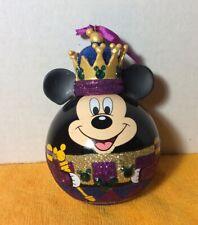 Mickey Mouse Nutcracker King Purple Glass Ball Ornament