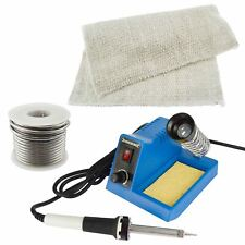 Soldering Iron Kit Electric Solder Stand Station Flux Wire Protective Mat 230V